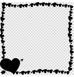 black vintage photo frame made of hearts with vector image