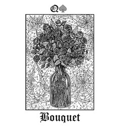 Bouquet tarot card from lenormand gothic vector