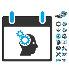 Brain Gears Calendar Day Icon With Bonus vector