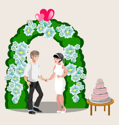 bride groom happy cartoon design vector image