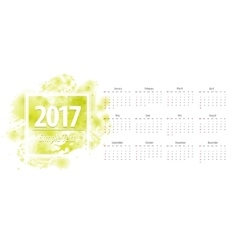 Calendar green 2017 week starts from sunday vector image
