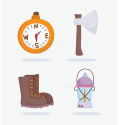 camping compass lantern boot compass vacations vector image