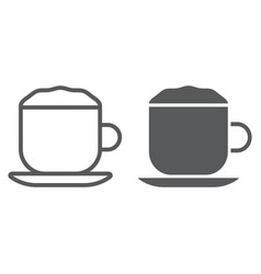 cappuccino line and glyph icon coffee and cafe vector image