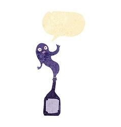 Cartoon ghost in bottle with speech bubble vector
