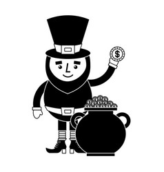 cartoon leprechaun holding gold coin and pot money vector image