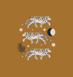 chinese style tigers ornamental in vector image