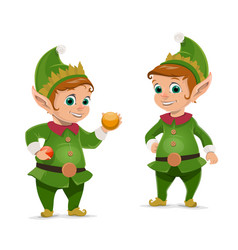 christmas elf and santa claus helper vector image