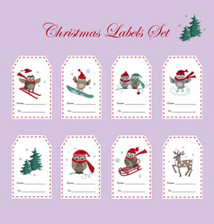 christmas gift tags with owls set vector image