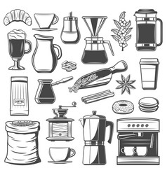 coffee cup and espresso machine cafe equipments vector image