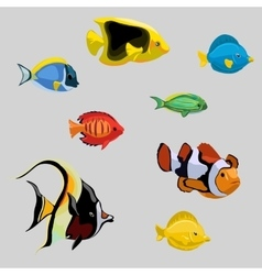 Collection tropical and deep-sea fish vector