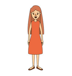 Color image caricature full body woman with long vector