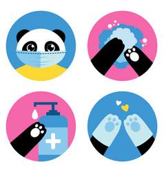coronavirus personal hygiene rules cute panda vector image