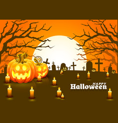 cover halloween pumpkin and candlesm card is vector image