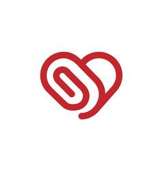 creative abstract heart clip symbol design logo vector image
