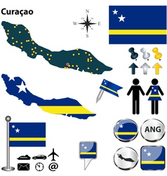 Curacao map vector image