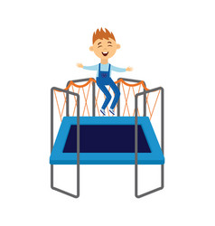 cute child jumping on trampoline having fun flat vector image