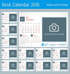 Desk Calendar for 2016 Year Design Print Template vector