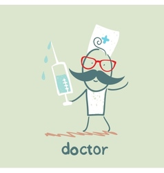 Doctor with a syringe vector