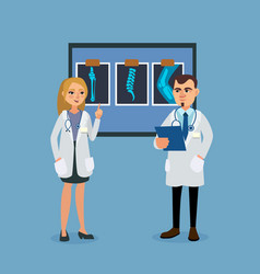 doctors discuss the patients medical history vector image