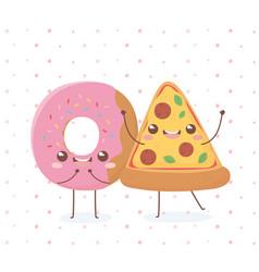 donut and pizza kawaii food cartoon character vector image