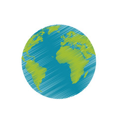 drawing earth planet world image vector image