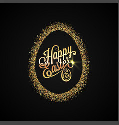 easter egg golden design background vector image
