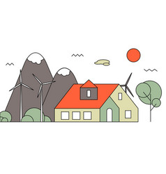 Eco residential family house vector