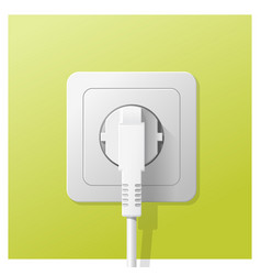 Electric plug and socket on green wall background vector