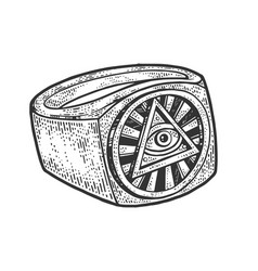 eye providence sketch engraving vector image