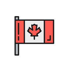 flag canada flat color line icon vector image