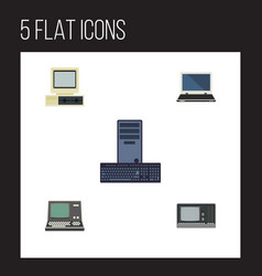 Flat icon laptop set of notebook processor vector