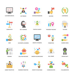flat icons set of success and opportunities vector image