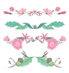 Floral Vignettes in Pale Colors vector image