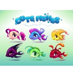 Funny cartoon little fishes set vector