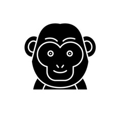 funny monkey black icon sign on isolated vector image
