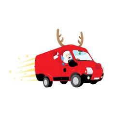 funny santa claus driving a red van and vector image