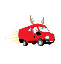 Funny santa claus driving a red van vector