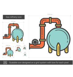 Gas refinery line icon vector