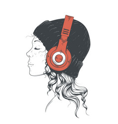 Girl in headphones vector