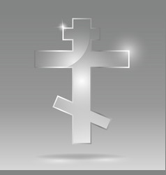 glass transparent russian orthodox cross or vector image