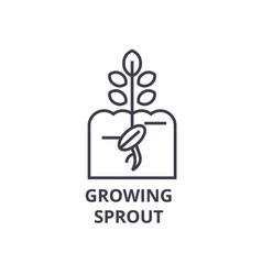 growing sprout line icon outline sign linear vector image