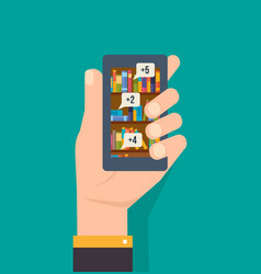 hand holds phone with an online library vector image