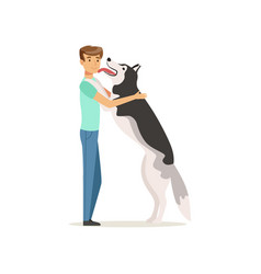 Happy dog licking man s face guy having fun with vector