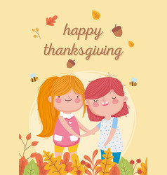 happy thanksgiving day cute little girls acorn vector image