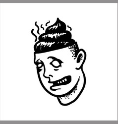 Head stupid man with shit instead brain vector