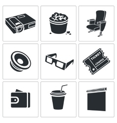 Hiking in the cinema Icons Set vector