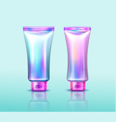 Holographic cosmetics package iridescent tubes vector