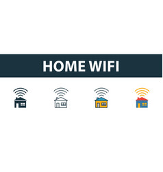 home wifi icon set four simple symbols in vector image