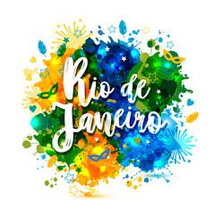 inscription rio de janeiro brazil vacation on a vector image
