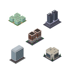 Isometric construction set of company house vector